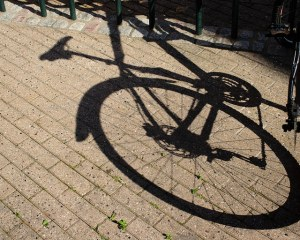 bicycle reflection on pavement